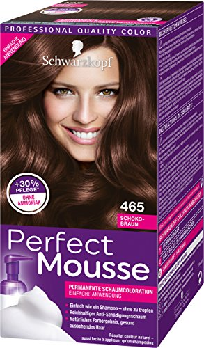 Perfect Mousse Lot de 3 colorations-mousses permanentes Marron chocolat 465 niveau 3 (3 x 93 ml)