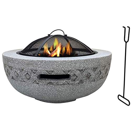 Fire Bowls For Garden, Fire Pit with BBQ Grill Shelf for Garden and Patio Magnesium Oxide Material Grill Camping Bowl BBQ With Poker, Grill, Mesh Lid