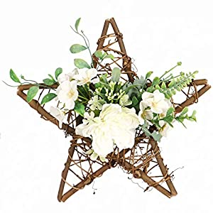 Silk Flower Arrangements Floral Wreath for Front Door Artificial Camellia Flower and Eucalyptus Star Shape Floral Wreath for Front Door Window Bedroom Birthday Balcony Wedding White