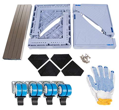 ilauke Podeste & Rahmen für Waschmaschinen mit Schwenkräder, Waschmaschine Sockel Untergestell für Trockner, Waschmaschine und Kühlschrank(45-75cm)