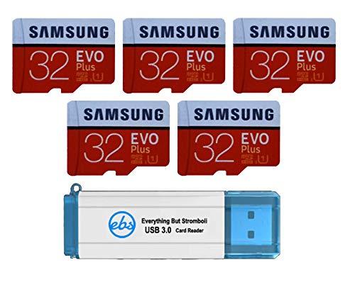 Samsung Cartão microSD Evo Plus de 32 GB (pacote com 5) Cartão de memória SDHC Classe 10 com adaptador (MB-MC32G) Pacote com (1) Tudo menos leitor Stromboli 3.0 com compartimentos SD e Micro (TF)