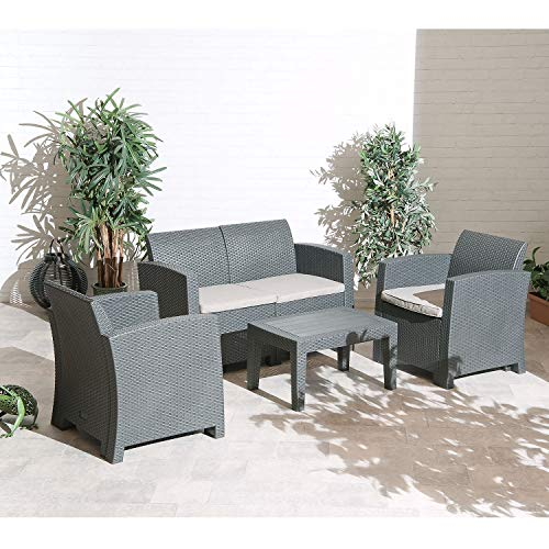 Florence Outdoor Garden Patio Lounge Set With Sofa, Armchairs, Poly-wood Table inc. Seat Cushions