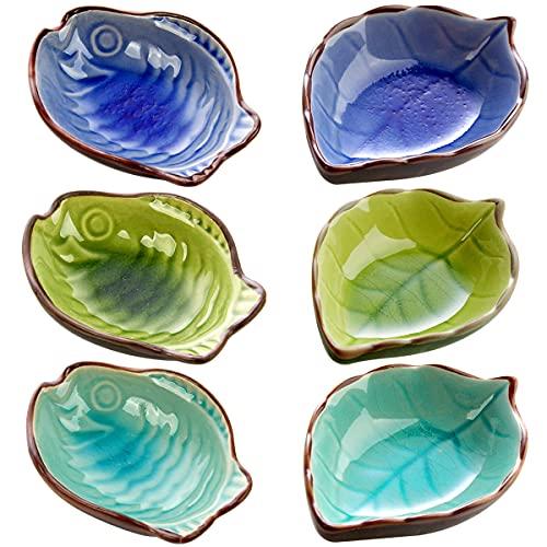 Ciotole per Salse in Ceramica,Saijer Forma di Foglia di Ceramica Piattino Salsa Di Soia Forma di Pesce Carino Ciotola Ciotola per Snack per Antipasti Dessert Frutta