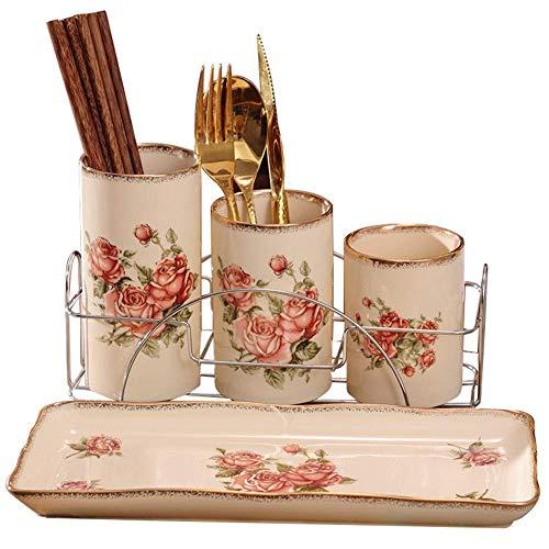 GUOSHUCHE Estantería de cerámica para palillos, estante de drenaje de vajilla, pintado a mano, bandeja y soporte de hierro forjado, adecuado para el hogar, hotel, restaurante