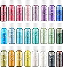 SANAAA Resin Color Pigment Mica Powder 24 Colors in Shaker Jars – 240g Set – Epoxy Resin Dye, Pigment for Candle, DIY Slim,Bath Bomb,Soap Making,Makeup,Nail Art,Paint