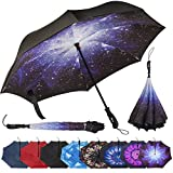 Repel Umbrella Reverse Folding Inverted Umbrella with 2 Layered Teflon Canopy and Reinforced Fiberglass Ribs, Golf Umbrella (Starry Night)