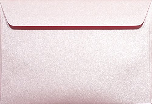 100 Perlmutt- Rosa C6 Briefumschläge 120g, 114x162mm, Majestic Petal, gerade Klappe, ideal für Hochzeit, Geburtstag, Taufe,Weihnachten, Einladungen, Gelegenheitskarten, Briefkarten