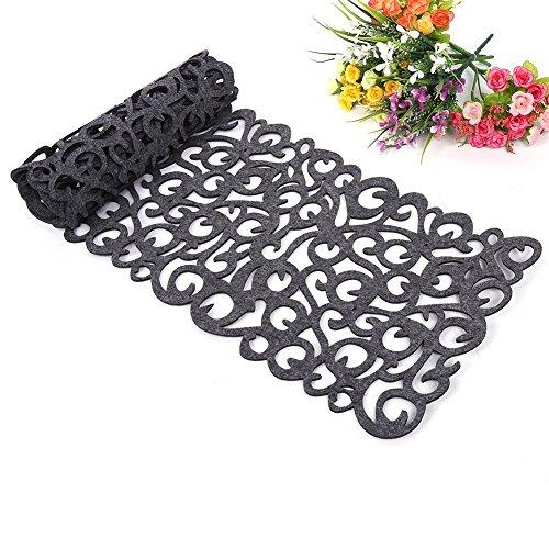ZJchao Camino de Mesa, la Flor Hueco Tischband Mantel Almohadilla de Fondos de Pantalla Coaster Decorar su habitación Lavables, 100 x30cm (Gris Oscuro)