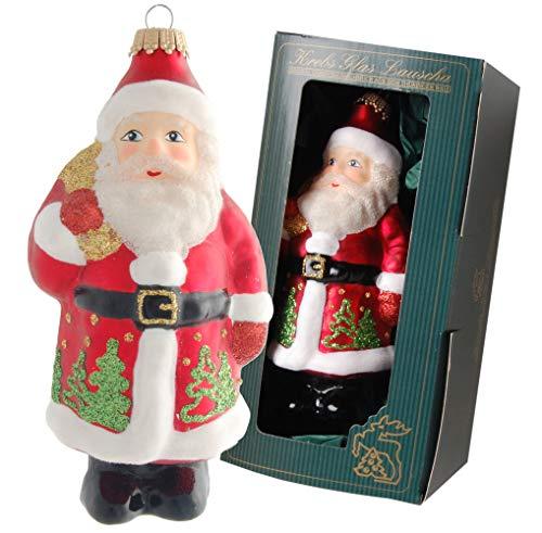 Krebs Glas Lauscha - Weihnachtsdekoration/Christbaumschmuck aus Glas - Weihnachtsmann als Anhänger - Motiv: mit Tannenbäumen rot/grün - Größe: ca. 14 cm