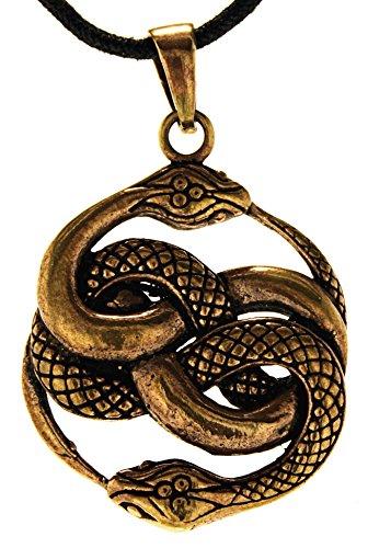 Kiss of Leather Schlangen Anhänger aus Bronze mit Baumwollband