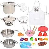 Juego de utensilios de cocina de acero inoxidable, utensilios de cocina y sartenes, delantal + sombrero de chef y comida para niños y niñas, herramienta de aprendizaje