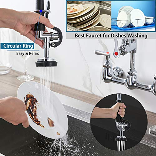 "Pre-Rinse Commercial Kitchen Faucet, 25"" Height Sink Faucet with 12"" Add-on Spout, 8'' Adjustable Center Wall Mount, Pull down Sprayer, Stainless Steel Hose, Solid Brass, Chrome"