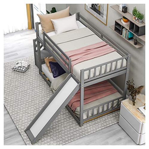 LXZWAN Bunk Bed Twin Over Twin Wood with Slide and Stairway Suitable for Family Bedroom or Apartment Dormitory No Need for Spring Box-Easy Assembly U.S.A. Local Shipments Can Be Delivered Quickly