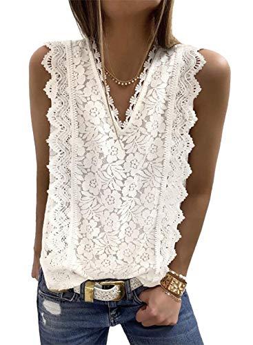 Astylish Womens V Neck Lace Trim Tunic Tank Tops Ladies Camisole Soft Sleeveless Blouse White X-Large