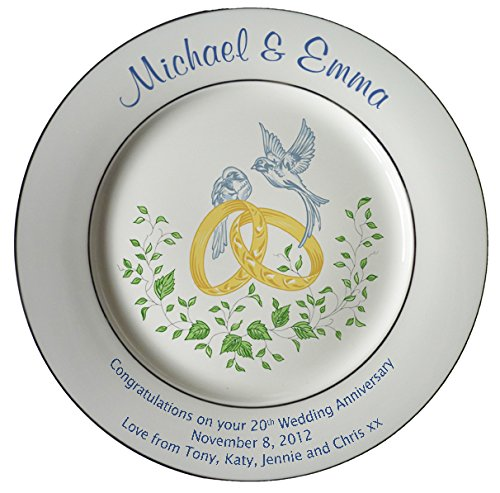 Heritage Pottery Personalized Bone China Commemorative Plate for A 20th Wedding Anniversary - Rings and Doves Design with 2 Silver Bands