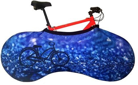 YISAMA Funda Bicicleta Decorativas,Funda Bici Para Interiores, Forro Para Bicicletas Motivo Cristales Azules