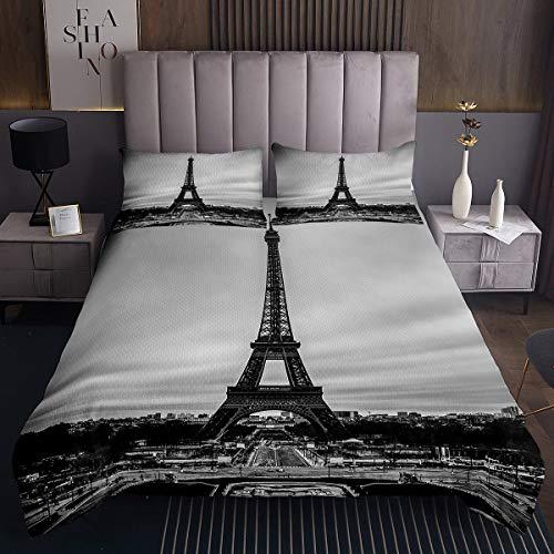 Colcha de la Torre Eiffel,Elegante temática de París niños,niñas niños,Paisaje Urbano de París,Juego de edredón Moderno de Estilo francés,Vintage Acolchada,Individual
