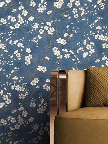 NEWROOM Tapete Blau Vliestapete Blumen - Blumentapte Floral Creme Beige Blätter Baum Mustertapete Tropisch Natur Botanisch inkl. Tapezier-Ratgeber