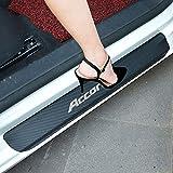 SENYAZON Accord Decal Sticker Carbon Fibre Vinyl Reflective Car Door Sill Decoration Scuff Plate for Honda Accord (Silver)
