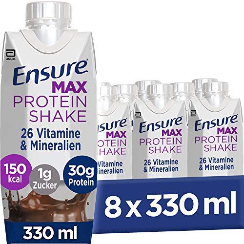 Ensure Max Protein Schokolade – Fertiger Shake mit 30 g Proteinen, Vitaminen & Mineralstoffen – Gluten- und laktosefrei – 8 x 330 ml