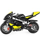 XtremepowerUS Premium 40cc Gas Pocket Bike Mini Motorcycle Ride-On 4-Stroke Engine for Kids Padded Seat EPA Approved, Yellow/Black