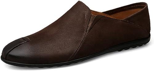 CHENDX Chaussures, Mocassins à Talon Plat de Style Loisir pour Homme Mocassins à Semelle ondulée Chaussures (Couleur   Marron, Taille   41 EU)
