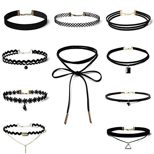 Wudi 10 Stück Halsband Tattoo Stretch Halskette-klassische Samtkragen Halskette gotische Spitze Damen Billig (Schwarz)