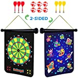 Power Your Fun Magnetic Dart Board for Kids - Roll Up Double Sided Toy Dart Board Indoor Outdoor Dart Board Set with 6...