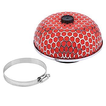 Qiilu Car Air Intake Inlet Filter Cleaner Mushroom Foam Gauze High Flow Universal Red