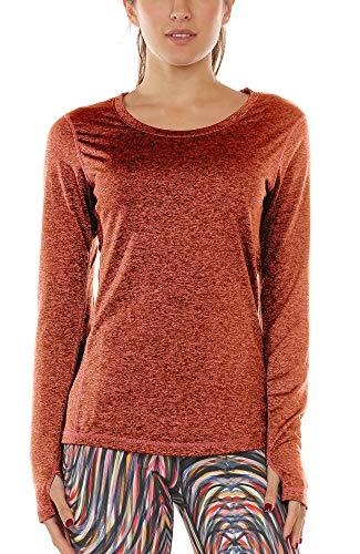 icyzone Damen Laufshirt Sport Training Langarm Shirt mit Daumenloch (Burnt Ochre, XL)