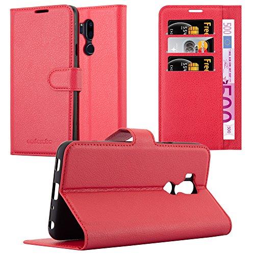 Cadorabo Hülle für LG G7 ThinQ in Karmin ROT - Handyhülle mit Magnetverschluss, Standfunktion und Kartenfach - Case Cover Schutzhülle Etui Tasche Book Klapp Style