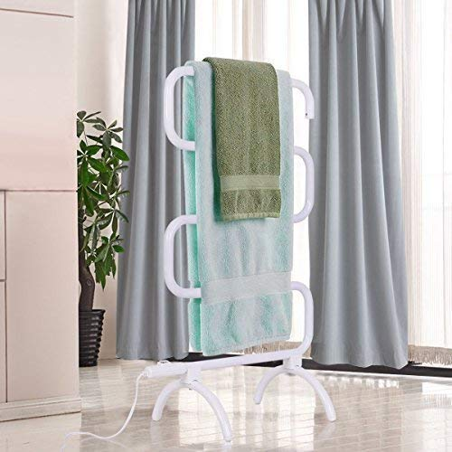 garden mile® Modern Curved White 100w Electric Heated Towel Rail Portable Towel Warmer Laundry Airer Rack Clothes Dryer Towel Rail Warmer Lightweight Free Standing Heated Clothes Rail