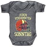 ShirtStreet American Football Gruppen Fan Strampler Bio Baumwoll Baby Body kurzarm Jungen Mädchen Jeden verdammten Sonntag 2, Größe: 3-6 Monate,Heather Grey Melange
