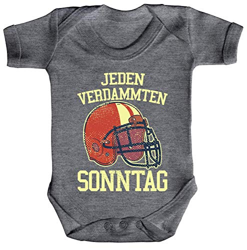 ShirtStreet American Football Gruppen Fan Strampler Bio Baumwoll Baby Body kurzarm Jungen Mädchen Jeden verdammten Sonntag 2, Größe: 12-18 Monate,Heather Grey Melange