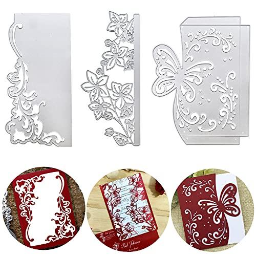 3 Stk Stanzschablone Spitze Rahmen Scrapbooking Metall Stanzformen Bilderrahmen Dekoration für DIY Grußkarte Postkarte Album Kartenherstellung (Typ A)