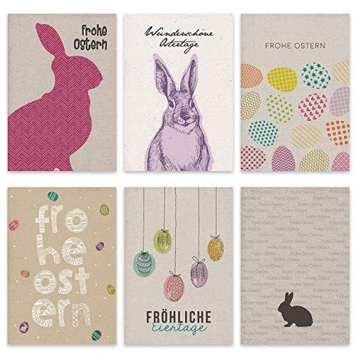 Papierdrachen 12 Osterkarten zum Sammeln und Verschicken - liebevoll gestaltetes Postkarten Set Packpapier - Grußkarten Set 2 - Ostern 2021