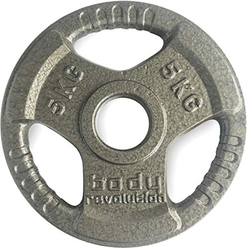 Body Revolution Olympic Weight Plates - Tri Grip Cast Iron Weights with 2 inch Holes – Range of Weights & Sizes Sold Separately (1.25kg x 2)
