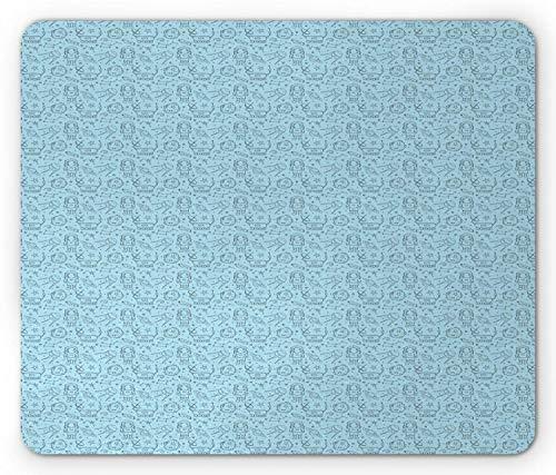 Universum-Mausunterlage, fortlaufender Doodle-Stil-Druck mit verschiedenen Konturflächenobjekten, Standardgröße, Rechteck, rutschfestes Gummi-Mousepad, hellblau, dunkelgrau,Gummimatte 11,8