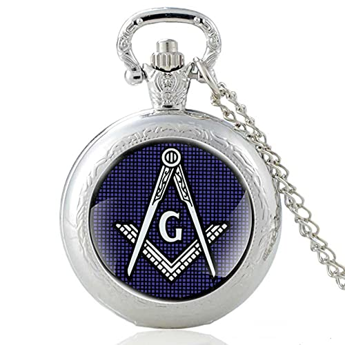 TUDUDU Vintage Freemason Pattern Silver Quartz Reloj De Bolsillo Hombres Mujeres Collar Colgante Masónico Horas Reloj Regalos Longitud Cadena De Unos 80 Cm