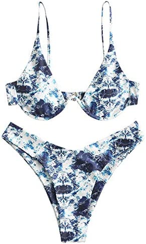 ZAFUL Women s Marble Print Underwire High Cut Push Up Bikini Set Swimsuit A Lapis Blue L product image