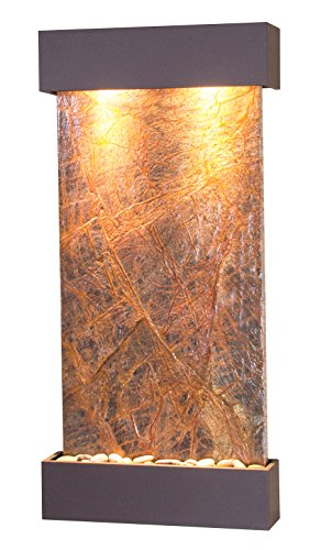 Whispering Creek Water Feature with Antique Bronze Trim and Square Edges (Brown Marble)