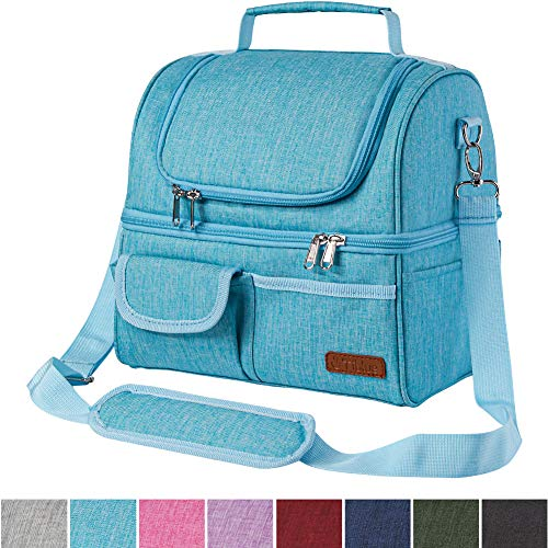 Insulated Lunch Bag for Women/Men/Adult, Dual Compartment Reusable Lunch Box for Office Work School Picnic, Leakproof Large Cooler Tote Bag Double Deck Cooler Freezable lunch bag with Detachable Strap