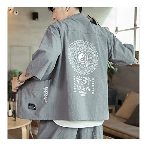 GODVC Kimono Uomini Cardigan Giapponese Obi Maschio Maschile Yukata haori Giapponese Abbigliamento Samurai Abbigliamento Tradizionale Giapponese FF001 (Colore : 3, Size : XL)