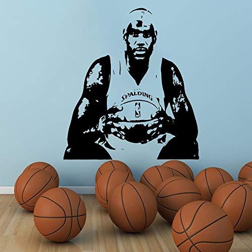 Basketball Wohnkultur berühmten Spieler Trikot Schablone Kavaliere Höhlen Cleveland King James Wandaufkleber Wandtattoo-57x64cm