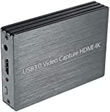 KKTECT Dispositivo de Captura de Video HD 1080p, HDMI 4K, 60 fps Dispositivo de Tarjeta de Captura de Video USB 3.0 con Micrófono, para PS4 DVD, Plug-N-Play, Compatible con Windows iOS