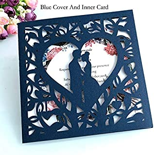 XMSM 1 Blue White Gold Red Hollow Heart Wedding Invitation Card Greeting Card Personality Party Decoration Supplies (Color...