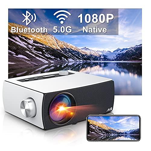 Beamer Full HD - Artlii Enjoy3 2.4G/5G WiFi Beamer Bluetooth 1080P Native Projektor 7500 Lumen LED Beamer mit 300 Display und Zoom Kompatibel mit TV Stick/ Smartphone/ PS4/ Laptop/ Xbox