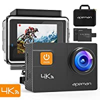 APEMAN A80 Action Camera 4K 20MP Wi-Fi Sports Cam 4X Zoom EIS 40M Waterproof Underwater Camcoder with 19 Accessories and Carring Case, for Yutube/Vlog Videos, PC Webcam
