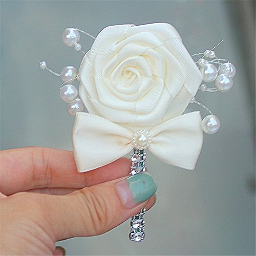S-SSOY Boutonniere Bridegroom Groom Men's Boutonniere Groomsmen Best Man Boutineer with Pin Brooch Corsage for Wedding Homecoming Prom Suit Decor Bowknot Cream 1 Piece