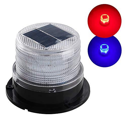 Sidaqi Luce di avvertimento stroboscopica magnetica di emergenza a energia solare, luce lampeggiante a LED wireless impermeabile ambra per camion per auto 12V (rosso e blu)